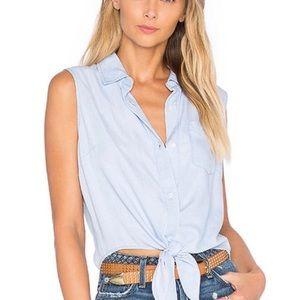 Rails Shea Tie Front Chambray Top